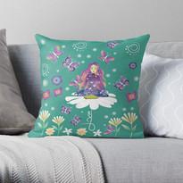 Self Love Daisy Floral Meditation Zen Spiritual Goddess Butterflies Large Throw Pillow