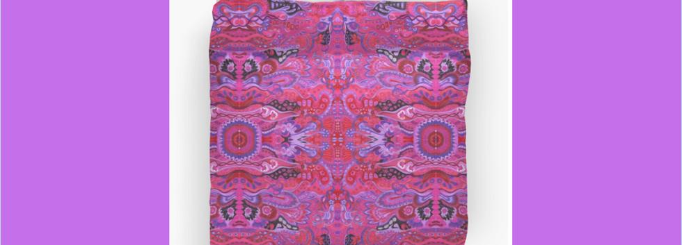 Duvet Cover Inner garden abstract cyclamen