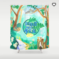 Nature Forest Green Animals Shower Curtain