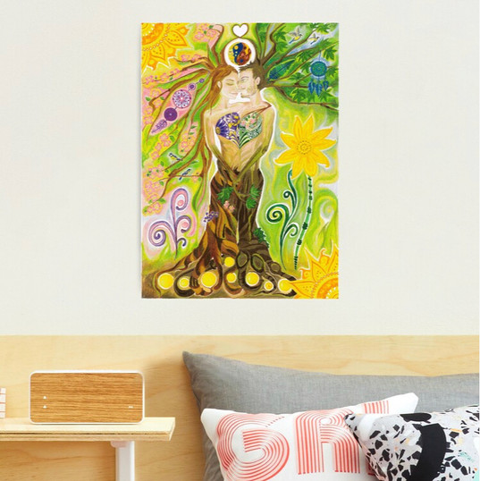 Trees of Life in Love Twin Flames Yin Yang Colored Pencils Photographic Print