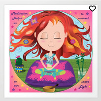 Chibi Meditation Zen Art Print