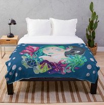 Mermaid Turtle Stingray Anemones Throw Blanket