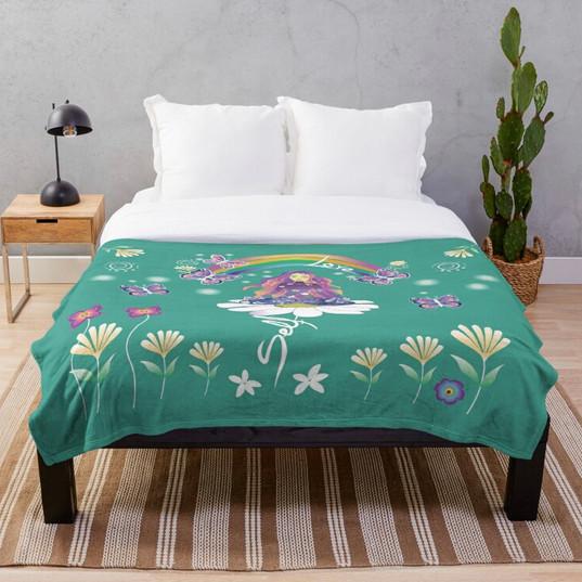 Self Love Daisy Floral Meditation Zen Spiritual Goddess Butterflies Throw Blanket