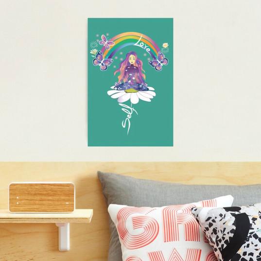 Self Love Daisy Floral Meditation Zen Spiritual Goddess Butterflies Photographic Print