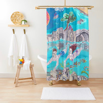 Snorkeling in the blue sea Shower Curtain