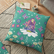 Design Large Floor Pillow: Goddess meditating on a daisy surrounded by butterflies. Tie dye space colors. Self Love Quote