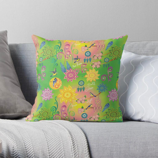 Cherry Blossom Floral Mandala Dreamcatcher Feathers Self Love Pattern Throw Pillow