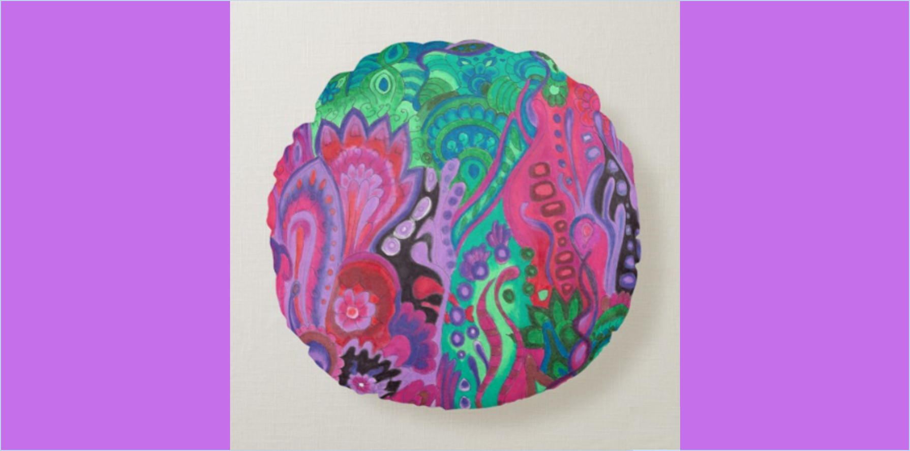 Meditation cushion green violet round pillow