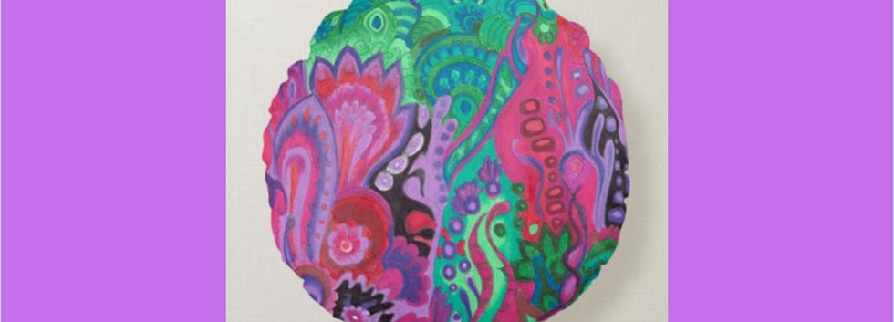 Meditation cushion green violet round pillow