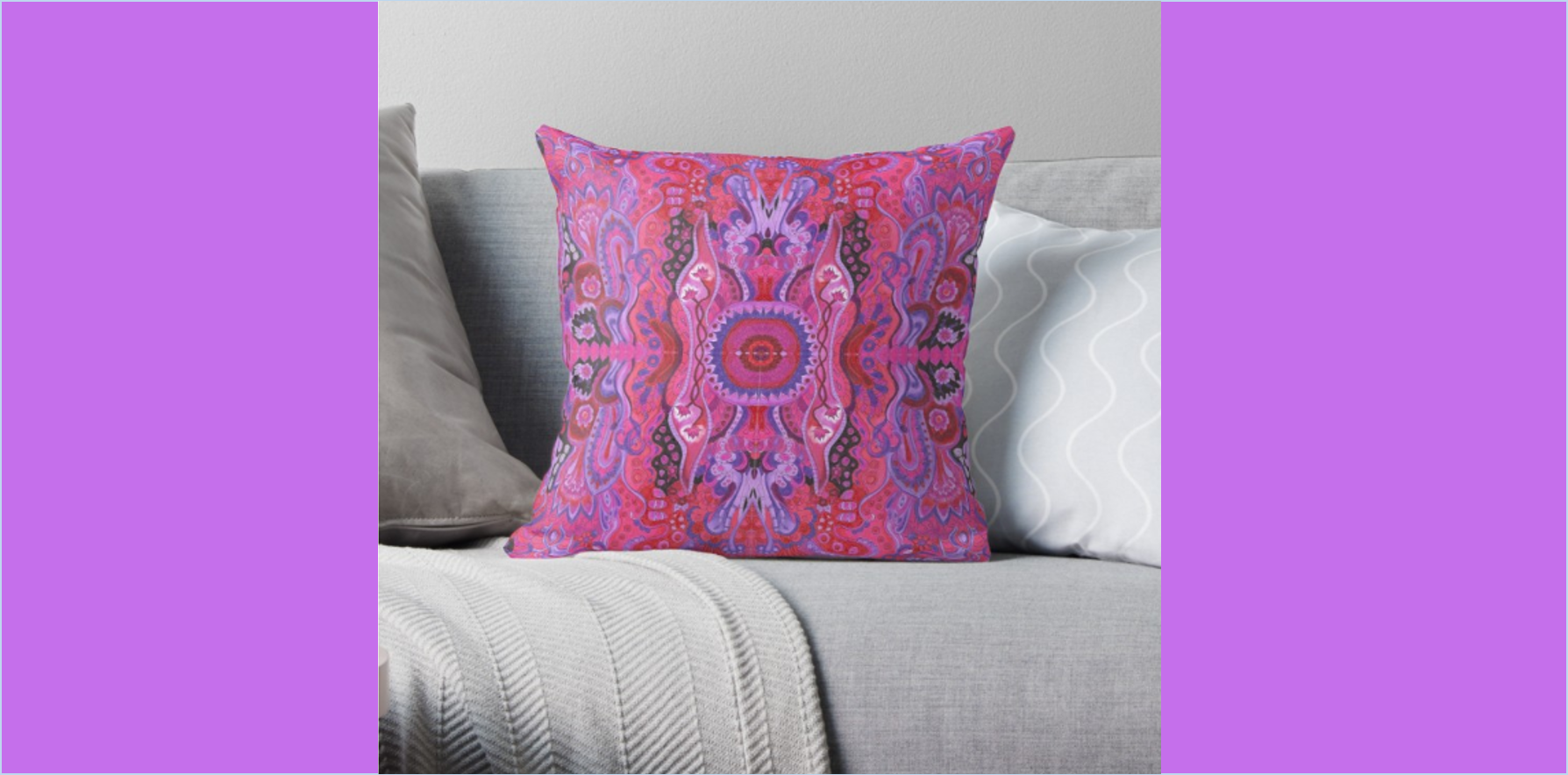 Meditation cushion cyclamen abstract