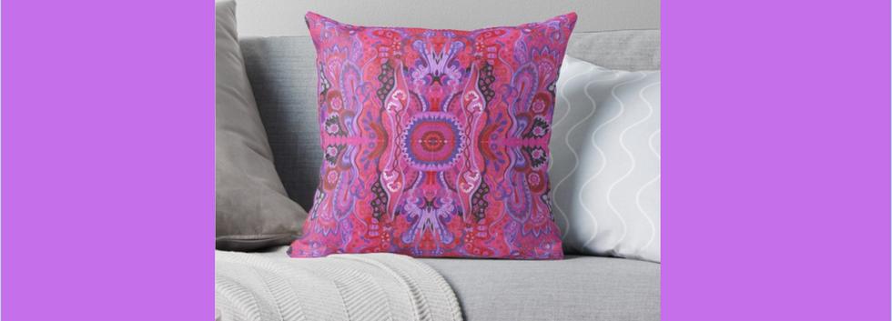 Meditation cushion cyclamen abstract