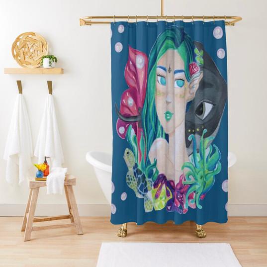 Mermaid Turtle Stingray Anemones Shower Curtain