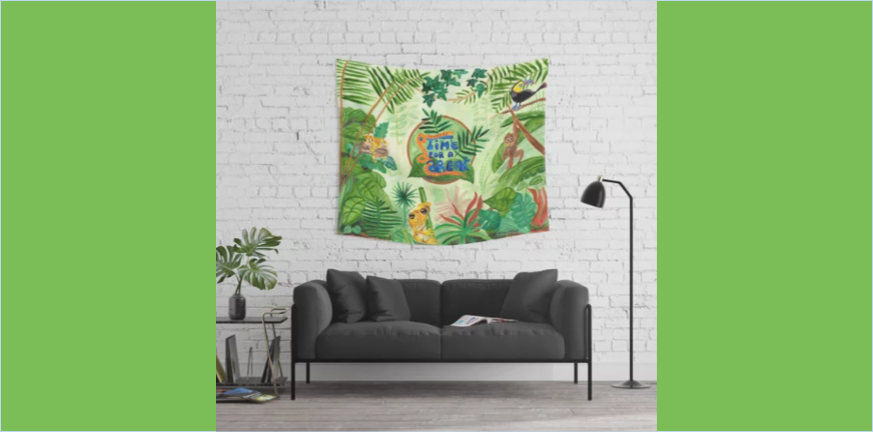 Medilludesign Ecotherapy Jungle Animals Wall Tapestry