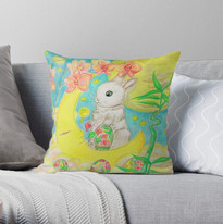 Easter Bunny Rabbit Colored Eggs Moon Orchids Throw Pillow