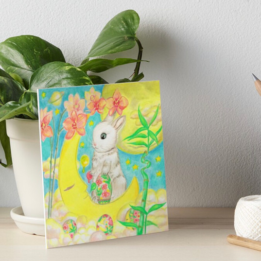 Easter Bunny Rabbit Colored Eggs Moon Orchids Art Board Print