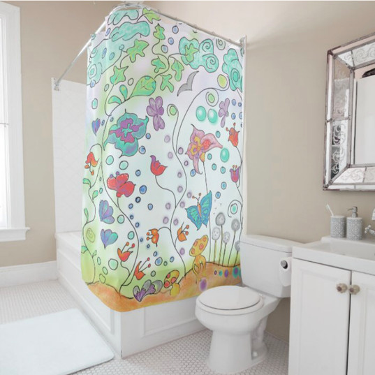 Magic Forest Floral Boho Shower Curtain