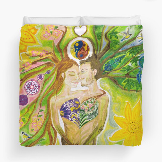 Trees of Life in Love Twin Flames Yin Yang Colored Pencils Duvet Cover