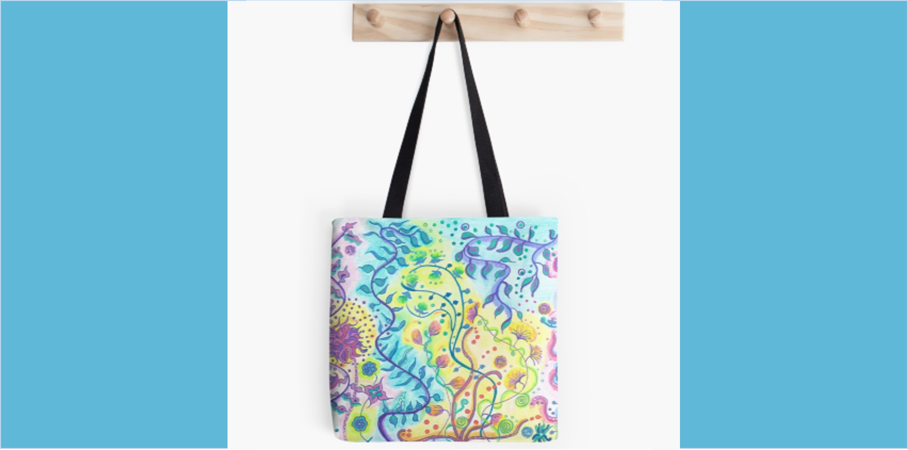 Tote bag floral abstract design