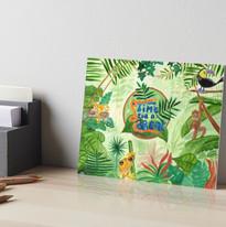 Jungle Frog Monkey Leopard Bird Time for a Break Art Board Print