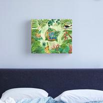 Jungle Frog Monkey Leopard Bird Time for a Break Canvas Print