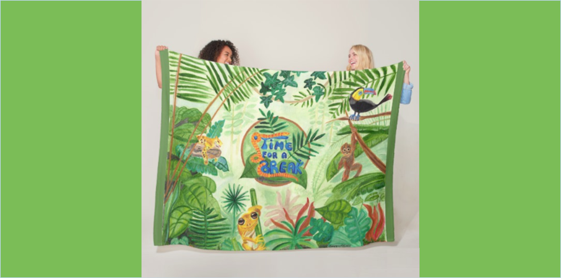 Medilludesign Ecotherapy jungle Fleece Blanket