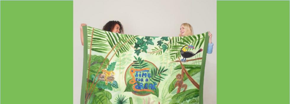 Medilludesign Ecotherapy jungle Fleece Blanket