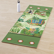 Jungle Green Leaves Wild Animals Eco Yoga Mat
