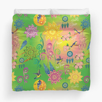 Cherry Blossom Floral Mandala Dreamcatcher Feathers Self Love Pattern Duvet Cover