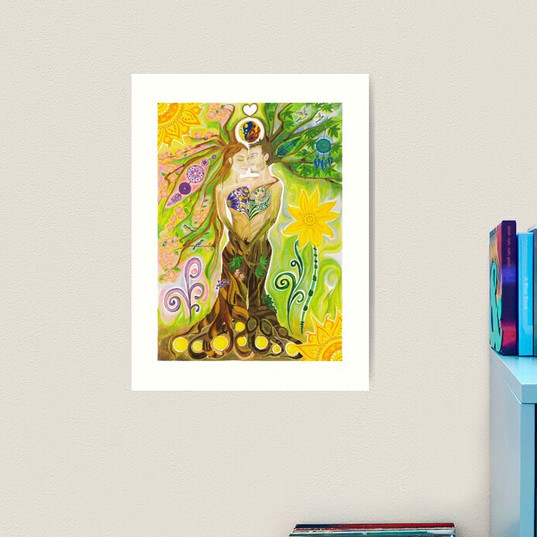 Trees of Life in Love Twin Flames Yin Yang Colored Pencils Art Print