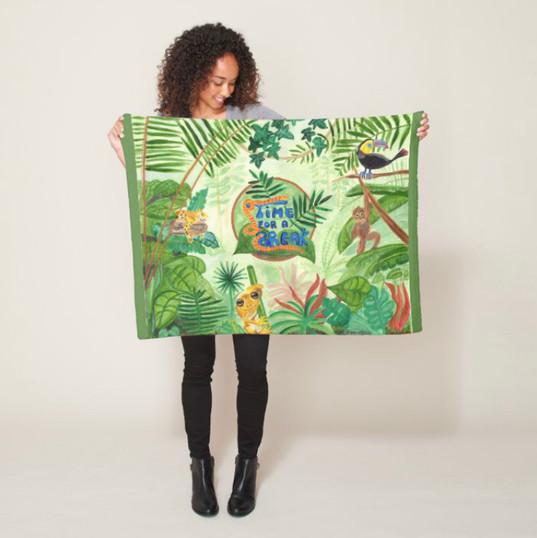 Jungle Wild Animals Fleece Blanket