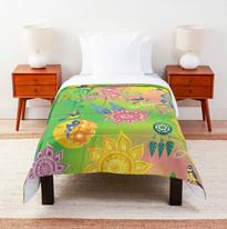 Cherry Blossom Floral Mandala Dreamcatcher Feathers Self Love Pattern Comforter