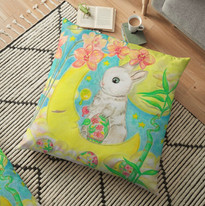 Easter Bunny Rabbit Colored Eggs Moon Orchids Floor Pillow