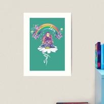 Self Love Daisy Floral Meditation Zen Spiritual Goddess Butterflies Art Print