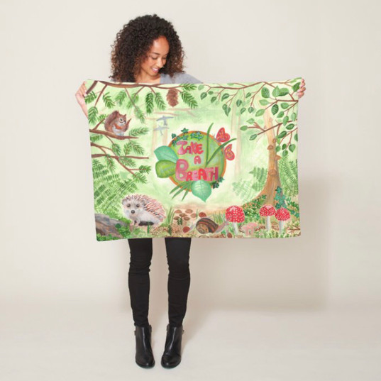 Nature Forest Green Wild Animals Baby Throw Blanket