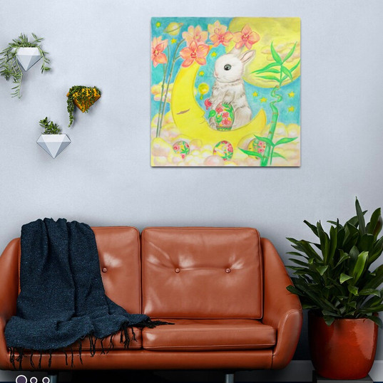 Easter Bunny Rabbit Colored Eggs Moon Orchids Metal Print