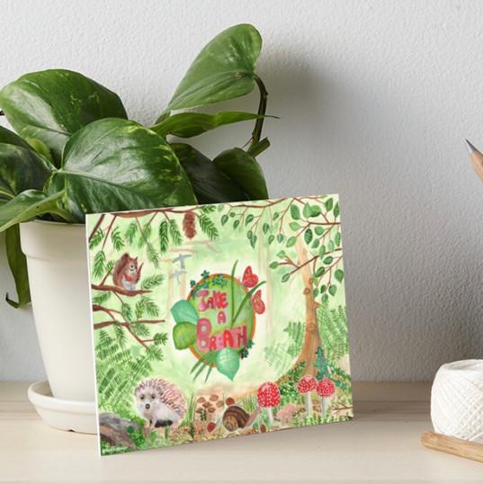 Take a breath Squirrels Hedgehog Forest Green Nature Animals Art Board Print