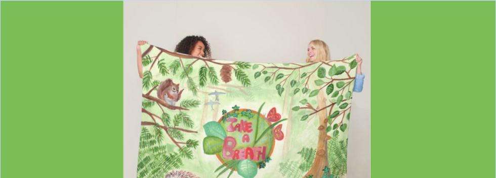 Large blanket nature watercolor