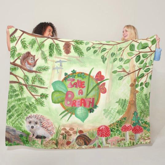 Nature Forest Green Wild Animals Throw Blanket