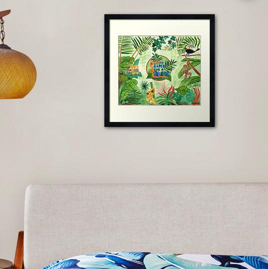 Jungle Frog Monkey Leopard Bird Time for a Break Framed Art Print