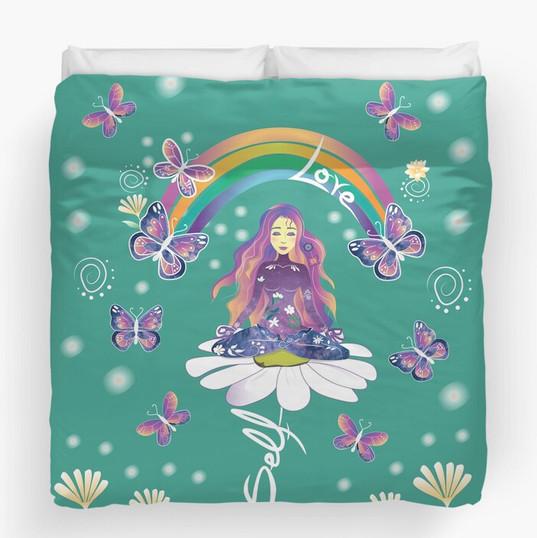Self Love Daisy Floral Meditation Zen Spiritual Goddess Butterflies Duvet Cover