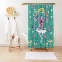 Self Love Daisy Floral Meditation Zen Spiritual Goddess Butterflies Shower Curtain