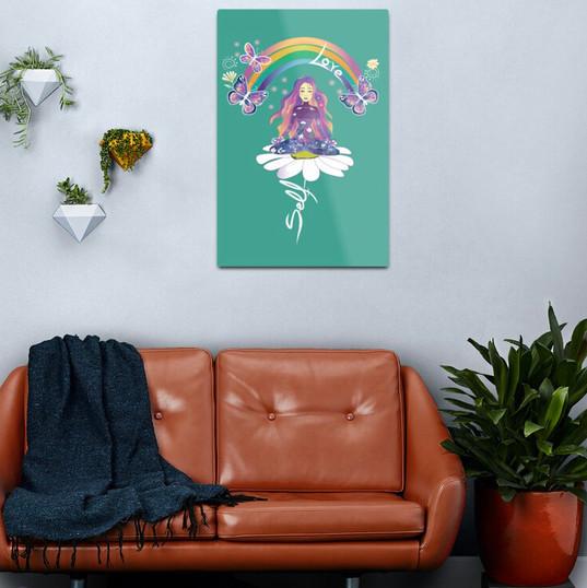Self Love Daisy Floral Meditation Zen Spiritual Goddess Butterflies Metal Print