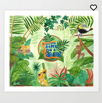 Nature Forest Green Wild Animals Art Print