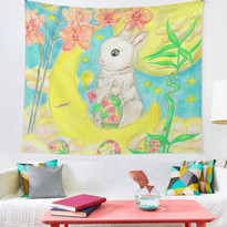 Easter Bunny Rabbit Colored Eggs Moon Orchids Tapestry