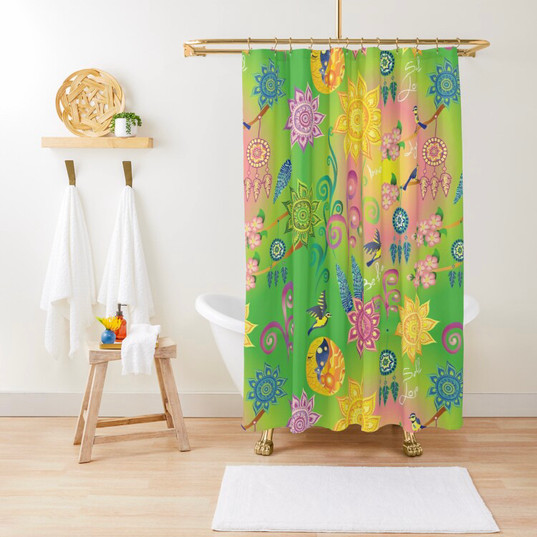 Cherry Blossom Floral Mandala Dreamcatcher Feathers Self Love Pattern Shower Curtain