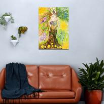 Trees of Life in Love Twin Flames Yin Yang Colored Pencils Metal Print