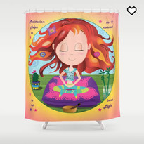 Chibi Meditation Zen Shower Curtain