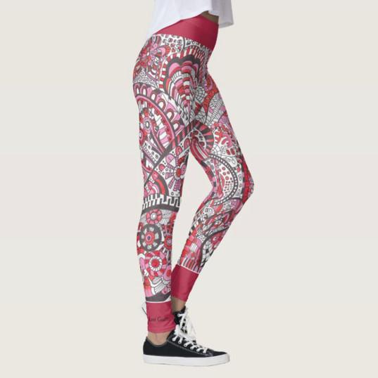 Abstract Red Black Yoga Leggings