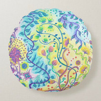 Pouf Design: The illustration represent water flowers and their flexible movements. Be flexible Express your freedom!