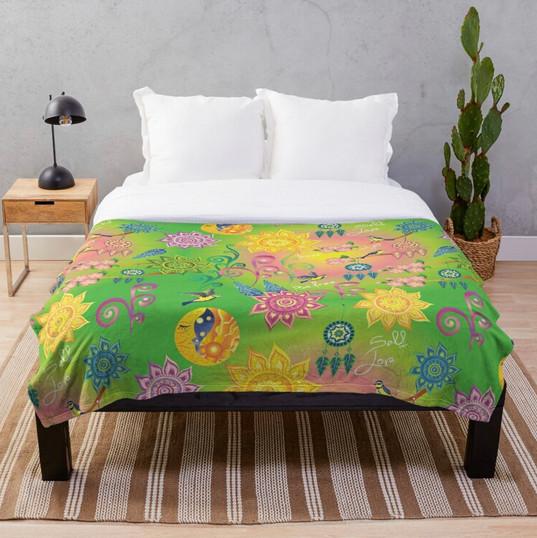 Cherry Blossom Floral Mandala Dreamcatcher Feathers Self Love Pattern Throw Blanket